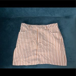 Tan & white pinstripe skirt • size S